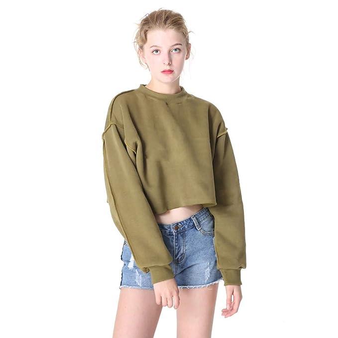 Amazon.com: FLAMINGO_STORE Sweatshirts for Women Velvet Fleece Plain Seam Crop Hoodie Female Crop Sweatshirt: Clothing