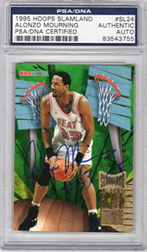 Alonzo Mourning Miami Heat 1995 Hoops Slamland Signed AUTOGRAPH - PSA/DNA Certified - Basketball Slabbed Autographed Cards