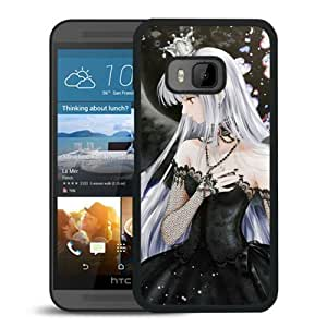 Popular And Unique Designed Cover Case For HTC ONE M9 With Girl Blonde Wings Sadness Dress black Phone Case BY supermalls
