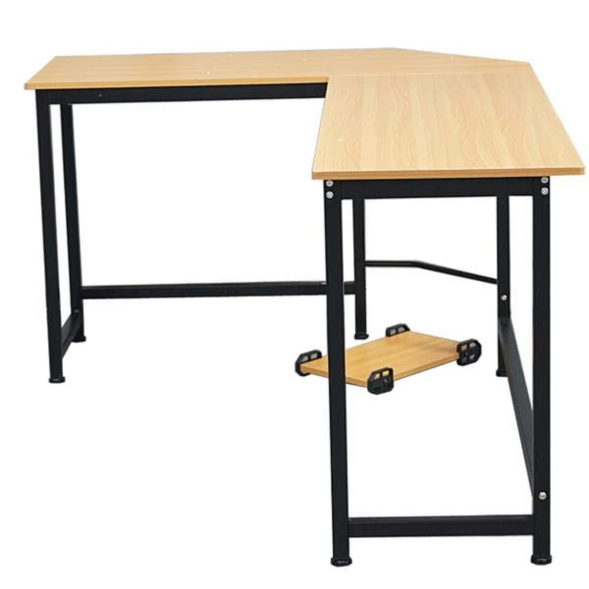 66inch Modern L-Shaped Desk Corner Computer Desk with CPU Stand, PC Latop Study Table Home Office Workstation Wood Color