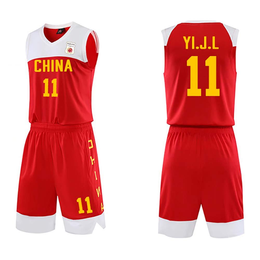 Transpirable Uniforme de Baloncesto de la Camiseta del Equipo Chino Copa Mundial de Baloncesto Masculino 2019 Traje de Uniforme de Entrenamiento de Pelota de Secado r/ápido