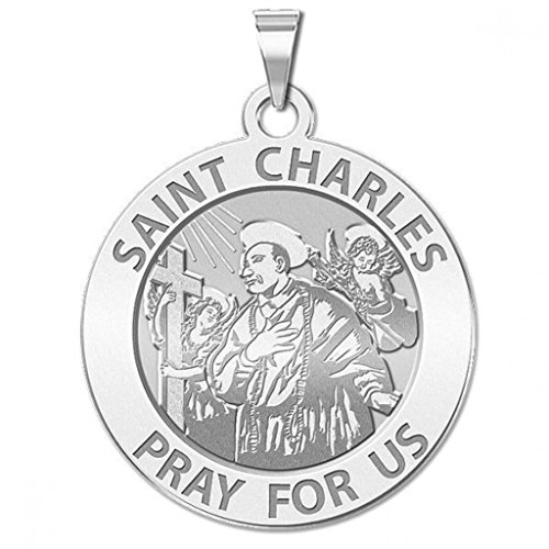 Saint Charles Borromeo Medals - Saint Charles Borromeo W/ Angels Round Religious Medal - - 2/3 Inch Size of Dime, Sterling Silver