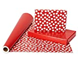 American Greetings Wrapping Paper Reversible Jumbo  Roll, Red and Polka Dots