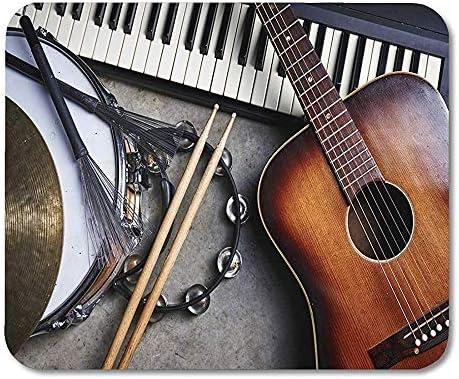 Alfombrillas de ratón Grupo Musical Negro de Instrumentos Musicales, Incluyendo Guitarra, batería, Alfombrilla de ratón para portátiles, Alfombrillas de Escritorio, Suministros de Oficina: Amazon.es: Electrónica