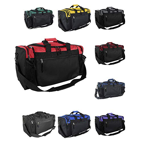 DALIX 20 Sports Duffle Bag w Mesh and Valuables Pockets Travel Gym