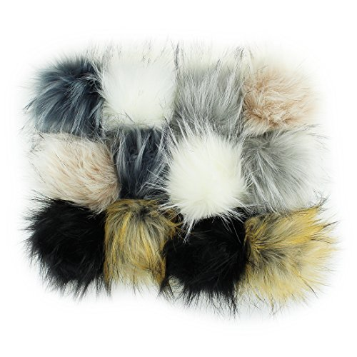 12pcs Faux Raccoon Fur Fluffy Pom Pom Ball for Hat Shoes Scarves Bag Charms Grey from JINSEY
