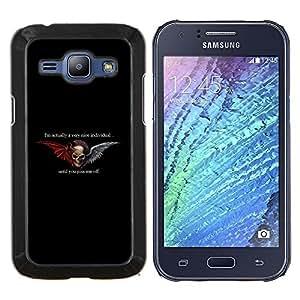 EJOOY---Cubierta de la caja de protección para la piel dura ** Samsung Galaxy J1 J100 ** --Infierno Biker Gang Negro Alas Diablo