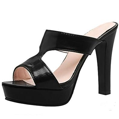 Zanpa Damen Moda Mules mit Absatz Slip on Sandalen Elegant Sommer Schuhe Ivory Size 41 ox5NZDVq