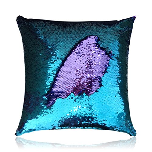 """San Tungus 14""""x14"""" Teal and Light Purple Mermaid Pillow Reversible Sequin Pillow That Changes Color"""