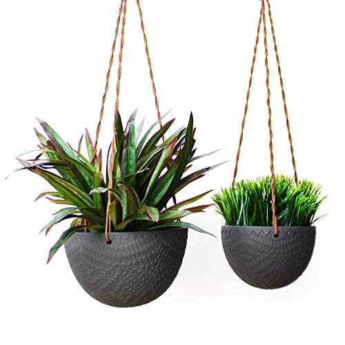 Slice of Goodness Hanging Planter - Holder/Pot for Plants, Flowers, Succulents - Ceramic Modern Design for Indoor Decor and Outdoor Garden, Patio - Plant Not Included - Black - Set of 2 (Small, Large) (Plants Patios For)