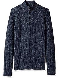 Men's Long Sleeve Texture Block Button Mock Neck Soft Sweater