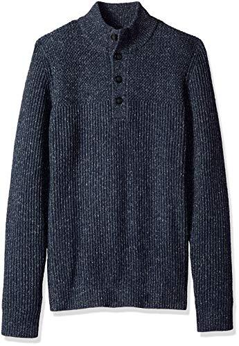 (Van Heusen Men's Long Sleeve Ribbed 1/4 Button Sweater 7GG, Navy Heather, XX-Large )