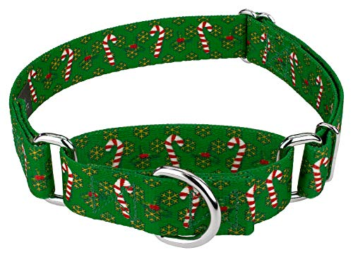 Country Brook Petz | Candy Cane Christmas Martingale Dog Collar - Christmas Collection with 13 Designs (Large)