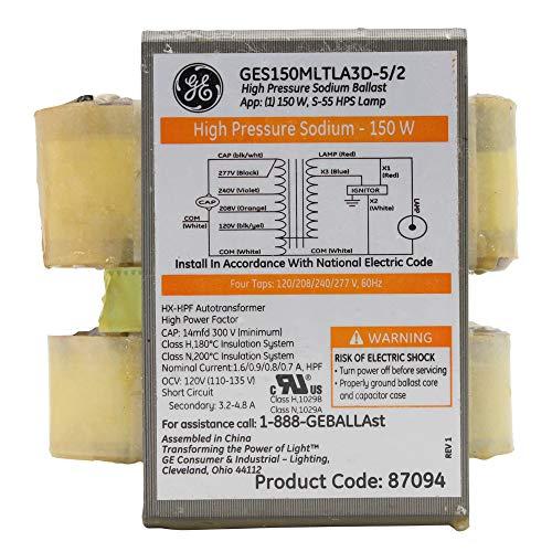 GE GES150MLTLA3D-5/2 87094 High Pressure Sodium Ballast, HPS, 150W, Quad-Tap