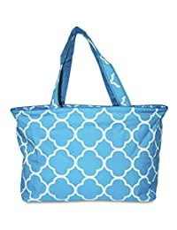 Ever Moda Beach Tote Bag - Teal Moroccan