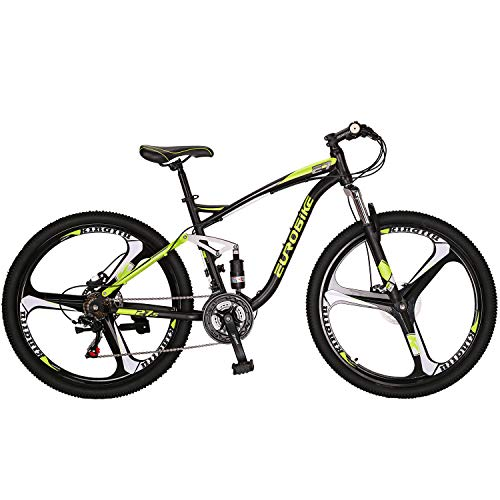 Eurobike OBK E7 Full Suspension Mountain Bike 21 Speed Bicycle 27.5