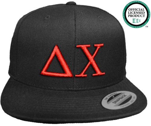 DELTA CHI Flat Brim Snapback Hat Red Letters / D. Chi | DX | Fraternity Cap