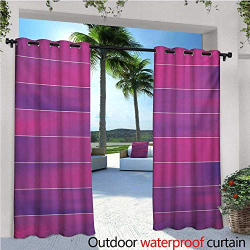 - homehot Hot Pink Outdoor Blackout Curtains Horizontal Color Bands Stripes with Fluorescent Effect and Soft Transitions Print Outdoor Privacy Porch Curtains W84 x L84 Pink Violet