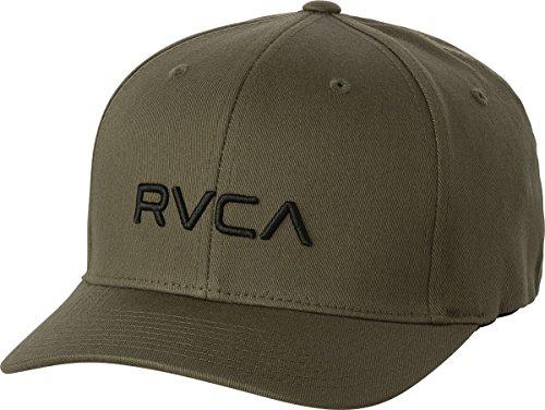 RVCA Men's Flex Fit Hat, Dark Khaki, L/X - Skate Cap Hat