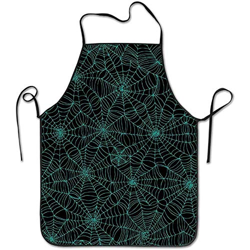 Johnnie Spider Web Spooky Halloween Horror Goth Spiders Funny Cooking Kitchen BBQ Apron Adjustable Easy Care Cooking Apron for Woman and Man Novelty Unisex Apron (Spider 56 Halloween)