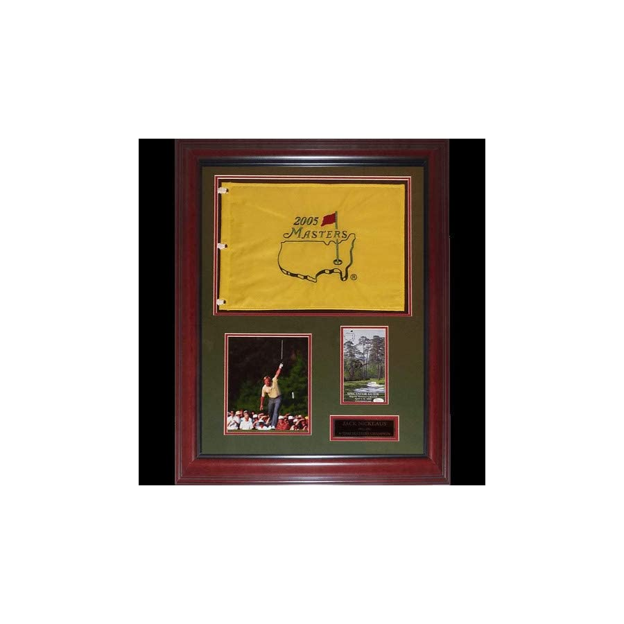 Jack Nicklaus Autographed Signed Auto 6 time Masters Champion Deluxe Framed Flag Piece JSA Certified Authentic
