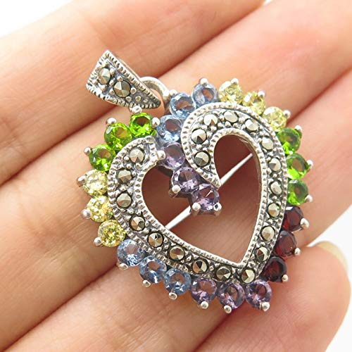 925 Sterling Silver Real Marcasite Multicolor Gemstone Heart Pendant Jewelry Making Supply by Wholesale Charms ()
