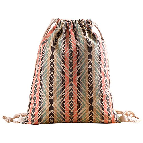 "Drawstring Bag Canvas Boho Backpack for Travel Sport Shopping 13""×16"" from IDOMIK"