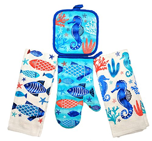 Ocean Pot - Summer Fun Products Mainstays 4 Piece Kitchen Bundle - Pot Holder, Oven Mitt, 2 Dish Towels - Fun Design (Ocean)