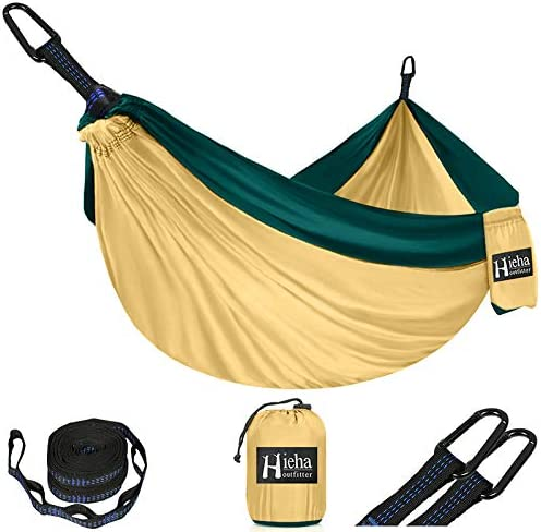 5 + 1 Schleifen Hieha Hängematte Ultraleichte Camping Hammock mit 2 x D-f/örmige Karabiner und 2 x Einstellbar Baumgurte ,210T Nylon Schnelltrocknendes Fallschirmgewebe 270 x 140 cm,300kg Tragkraft