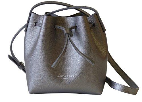 Lancaster Tasche Pur Saffino Mini Sac 422-23-BRONZE_META Damen Ledertasche, Beuteltasche, Bucket Bag, Mini Schultertasche Bronze (17,50 cm x 17 cm x 10 cm)