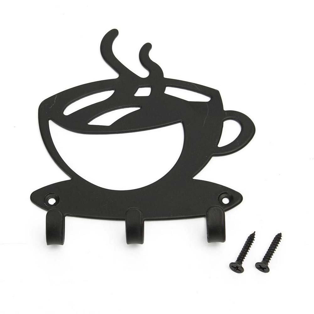 MAXGOODS Portachiavi a Muro - Portachiavi Moderna Decorazione Caffè Con 3 Ganci, Acciaio Tagliato a Laser Di Alta Qualità, Nero, Pronto Per l'installazione Con Viti e Tasselli Inclusi