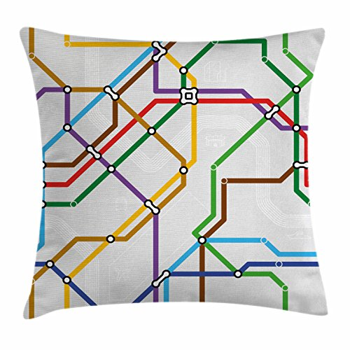 Metro Contemporary Sofa (Map Throw Pillow Cushion Cover by Ambesonne, Stripes in Vibrant Colors Metro Scheme Subway Stations Abstract Railroad Transportation, Decorative Square Accent Pillow Case, 28 X 28 Inches, Multicolor)