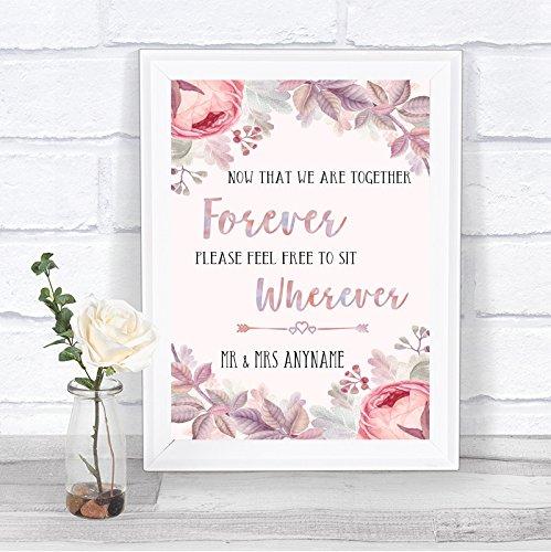 Blush Rose Gold & Lilac Informal No Seating Plan Personalized Wedding Sign