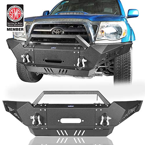 u-Box Destroyer Front Bumper Full Width Bumper w/Winch Plate & 2 ×18W LED Spotlights for Toyota 2005-2015 Tacoma