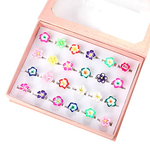 PinkSheep Little Girl Jewel Rings in Box, Adjustable, No Duplication, Girl Pretend Play and Dress Up Rings (24 Plumeria Ring)