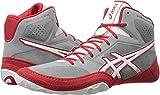 ASICS Men's Dan Gable Evo Wrestling Shoe, Aluminum/White/Classic Red, 12 Medium US