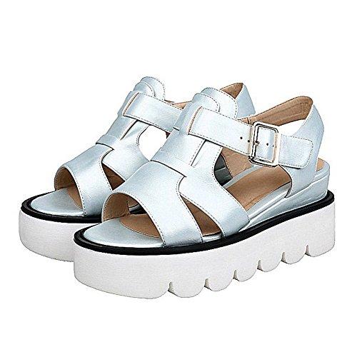 AllhqFashion Women's Solid PU Buckle Kitten-Heels Open Toe Sandals Blue 9lUbBYuaa8