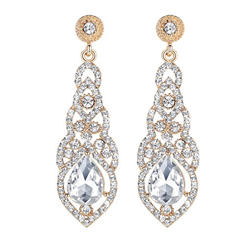 mecresh Rhinestone Chandelier Bridal Wedding Dangle Earrings for Women in Silver ()
