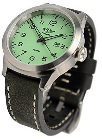 FLIEGER Armbanduhr – mit edlem Etui - wasserdicht - Leuchtziffernblatt