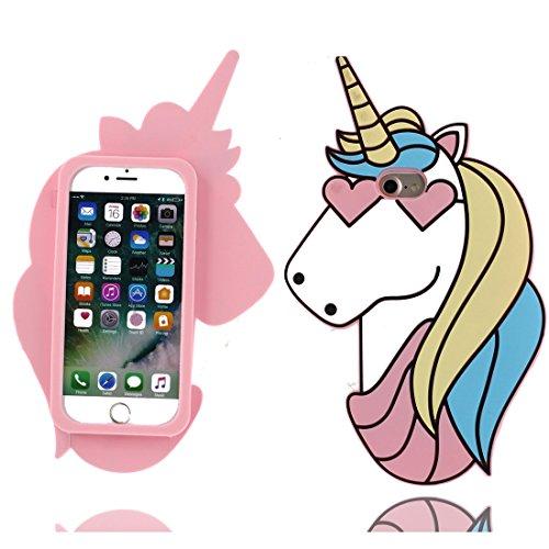iPhone 7 Custodia, 3D Cartoon unicorno unicorn case Copertura per iPhone 7 (4.7) SOFT TPU protettivo indietro Shell Gel Cover [Anti-Graffi] [Solo]