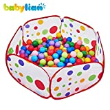Babylian Playpen Ball Pit with Red Zippered Storage Bag for Kids,Pets 39.4-inch by 19.7-Inch (Balls not Included)
