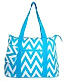 Ever Moda Teal Blue Chevron Tote Bag X-Large 21-inch