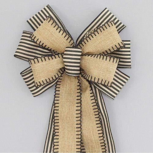 Burlap Black Natural Stripe Wreath Bow