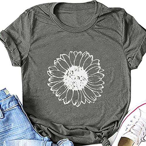 AODONG Womens Short Sleeve Tops,Womens Loose T-Shirts Casual Printing Short Sleeves O-Neck Blouse Tops