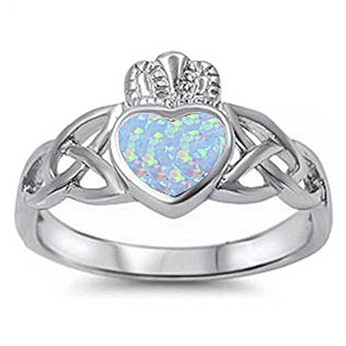 - 925 Sterling Silver Lab White Opal Claddagh Ring Celtic Irish Solid 925 Sterling Silver Engagement Ring