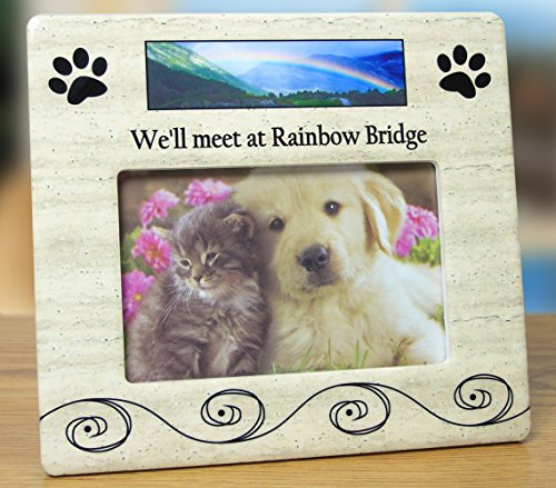 Bridge Rainbow Dogs - BANBERRY DESIGNS Pet Bereavement Photo Frame for Dog or Cat - We'll Meet at Rainbow Bridge - for 4x6 Photo
