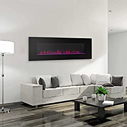 XtremepowerUS Allure Linear Wall Mount Smokeless Electric Fireplace, 50-inch Wide w/ 3 Changeable Flame Color by XtremepowerUS