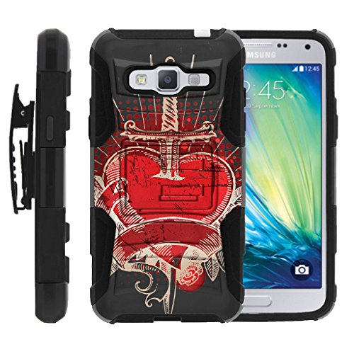 Samsung J3, Dual Layer Shell Rugged Armor Shell Belt Holster Clip Case with Unique Graphic Images by Miniturtle - Pierced Heart