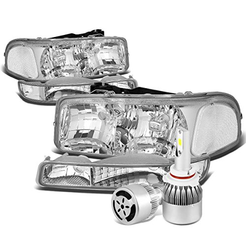 For GMC Sierra/Yukon GMT800 Chrome Housing Headlight & Clear Corner Bumper Lamp + 9006 LED Conversion Kit W/Fan ()