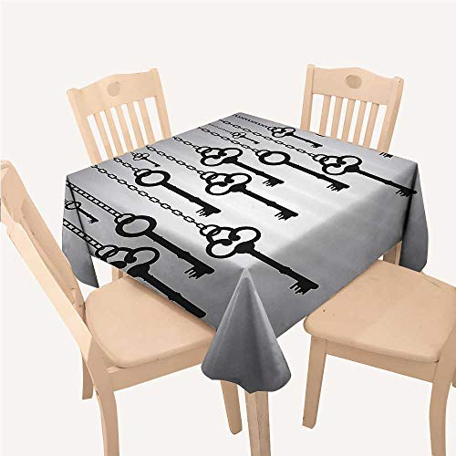 - WilliamsDecor Antique Decor Jacquard Tablecloth Silhouettes of Old Keys Hanging Chain Links Unlocking Secure Home Opener Square Tablecloth W70 xL70 inch